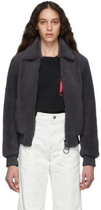 Off-White Grey Shearling Bomber Jacket
