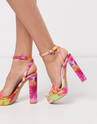 Barely There ASOS DESIGN Nutshell platform heeled sandals in tropical print