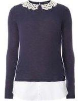Dorothy Perkins Womens **Tall Navy Crochet Collar Knitted Jumper- Blue