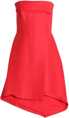 Halston Strapless Asymmetric Cotton And Silk-blend Dress
