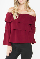 Sugar Lips Burgundy Off Shoulder Top