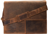 Visconti Tan Distressed Leather Messenger Bag