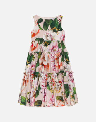 Dolce & Gabbana Long Floral Print Poplin Dress With Pink Bottom