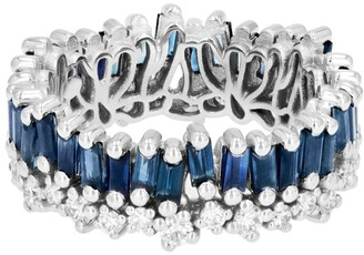 Suzanne Kalan White Gold, Diamond and Sapphire Fireworks Eternity Band Ring (Size 6.5)