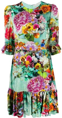 Mary Katrantzou Millais floral-print velvet-devore dress