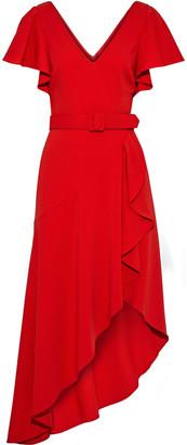 Badgley Mischka Asymmetric Belted Ruffled Cady Dress