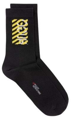 HUGO Quarter-length socks with deconstructed logo and slogan detail