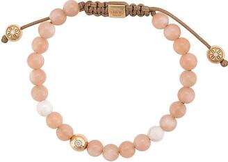 Shamballa Jewels 18kt yellow gold peach moonstone and white ceramic beaded bracelet