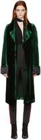 Haider Ackermann Green Velvet Long Coat