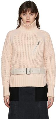 Sacai Pink Wool Belted Turtleneck