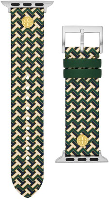 Tory Burch T-Zag Band for Apple Watch, Green Multicolor Leather, 38 MM 40 MM