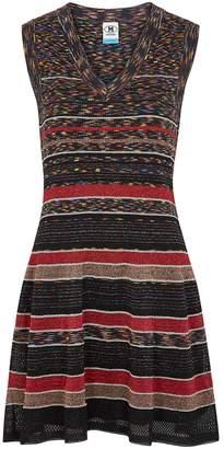 M Missoni Striped Metallic-weave Mini Dress