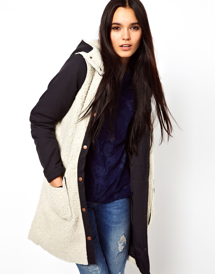 Vila Faux Sheepskin Coat