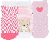 Robeez Pink & White Little Bear Hug Three-Pair Socks Set