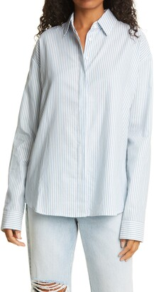 RtA Brady Stripe Oversize Button Up Cotton Shirt