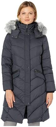 Bernardo Fashions Chevron Hooded Parka (Dark Moss Green) Women's Jacket
