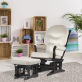 Dutailier Ultramotion Beige Microfiber Espresso-Finished Glider Chair/Ottoman Set