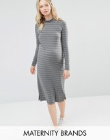 Mama Licious Mama.licious Mamalicious Striped Jersey Bodycon Dress With High Neck