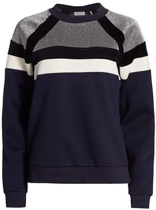 Sandro Colorblock Metallic Fleece Sweater