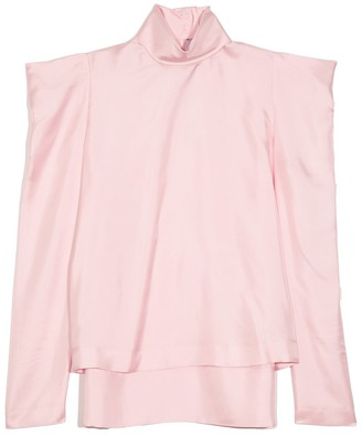 Dice Kayek Puff Shoulder Turtleneck Blouse in Pink