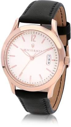 Maserati Tradizione Rose Gold Tone Case and Black Leather Strap Men's Watch