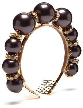 Dolce & Gabbana Crystal And Faux-pearl Headband - Womens - Black