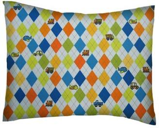 Sheetworld SheetWorld Twin Pillow Case - Percale Pillow Case - Argyle Blue Transport