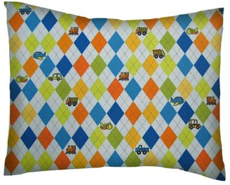 Sheetworld Twin Pillow Case - Percale Pillow Case - Argyle Blue Transport