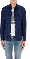 Saint Laurent Men's Plaid Woven Western Shirt-NAVY, NO COLOR