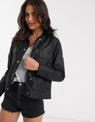 Barbour International ballpark short wax jacket in black
