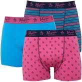 Original Penguin Mens Three Pack Boxers Carmine Rose/Dress Blue/Malibu Blue