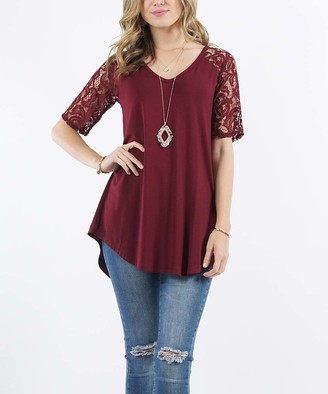 Lydiane Women's Tunics DK - Dark Burgundy V-Neck Lace-Sleeve Curved-Hem Tunic - Women