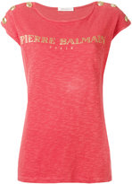 Pierre Balmain studded trim logo print T-shirt - women - Cotton - 34