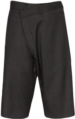 R 13 Asymmetric Wool Shorts