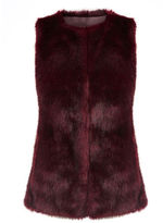 "Oasis FAUX FUR GILET [span class=""variation_color_heading""]- Burgundy[/span]"