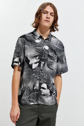Urban Outfitters Math Man Duo Rayon Short Sleeve Button-Down Shirt