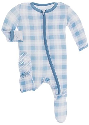 Kickee Pants Kids Print Footie with Zipper (Infant) (Blue Moon Holiday Plaid) Kid's Jumpsuit & Rompers One Piece