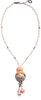 Antica Murrina Veneziana Papaya 3 Orange Pendant Necklace w/Pastel Murano Glass Beads