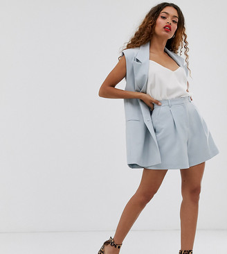 Asos DESIGN Petite mom suit shorts in blue
