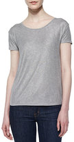 Neiman Marcus Majestic Paris for Soft Touch Short-Sleeve Metallic Tee