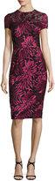 David Meister Short-Sleeve Floral Embroidered Sheath Dress, Burgundy