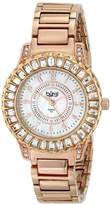 Burgi Women's BUR095RG Rose Gold Crystal Accented Swiss Quartz Watch with Pink Mother of Pearl Dial and Rose Gold Bracelet