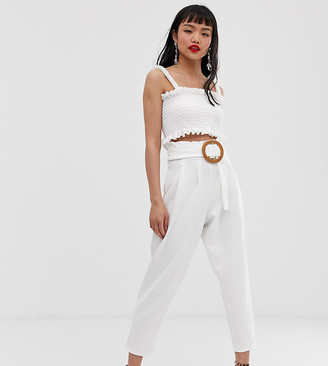 Asos DESIGN Petite paperbag waist trousers with rattan belt-White