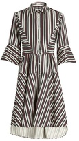 Palmer Harding PALMER//HARDING Flounce-sleeve striped cotton-blend shirtdress