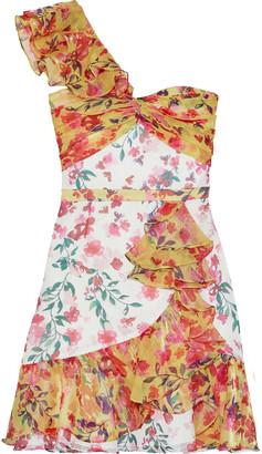 Marchesa Notte One-shoulder Metallic Floral-print Georgette Mini Dress