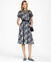 Brooks Brothers Petite Palm Tree Print Cotton Sateen Shirt Dress