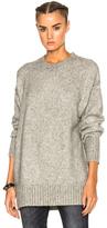 R 13 Oversized Crewneck Sweater in Gray.