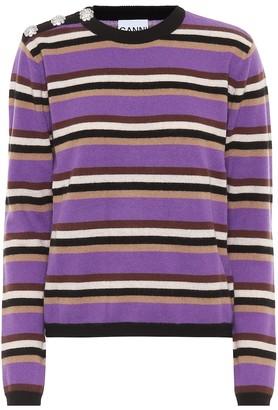 Ganni Embellished striped cashmere sweater