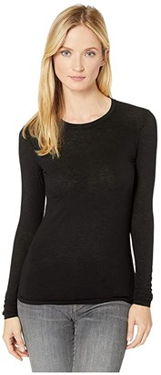 Commando Butter + Cashmere Layering Long Sleeve Tee CSH202 (Black) Women's Long Sleeve Pullover