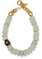 Lizzie Fortunato Tidal Gold-Plated, Amethyst and Wood Necklace